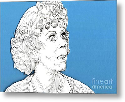 Metal Print featuring the mixed media Momma On Blue by Jason Tricktop Matthews