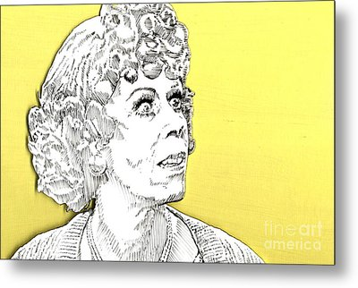 Metal Print featuring the mixed media Momma On Yellow by Jason Tricktop Matthews