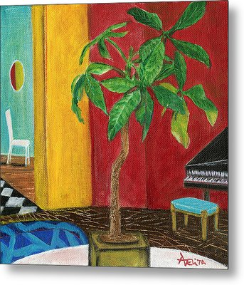 Money Tree In The Music Room Metal Print by Adelita Pandini