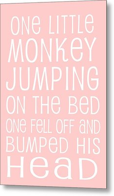 Monkey Jumping On The Bed Metal Print