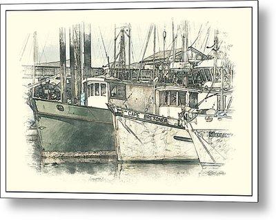 Moored Fishing Boats Metal Print by Richard Farrington