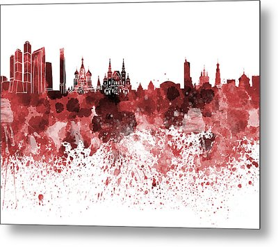 Moscow Skyline White Background Metal Print by Pablo Romero