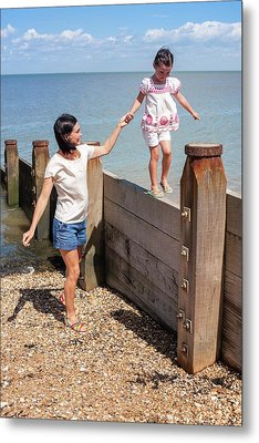 Mother And Daughter On Beach Metal Print