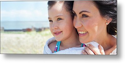Mother And Daughter Smiling Metal Print by Ian Hooton