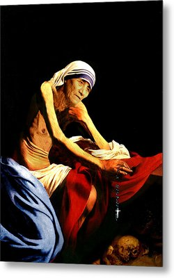 Mother Teresa Seated Nude Metal Print