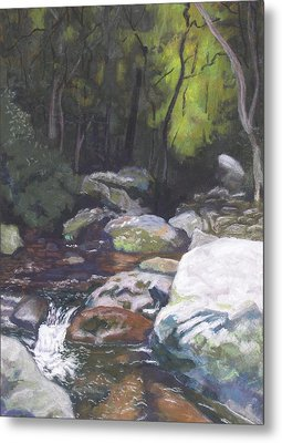 Mountain Stream At Dusk Metal Print
