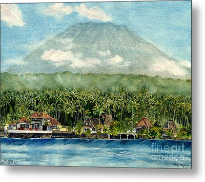 Metal Print featuring the painting Mt. Agung Bali Indonesia by Melly Terpening