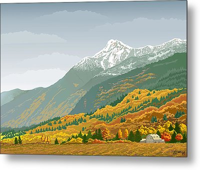 Mt Cheam In Autumn Metal Print by Artellus Artworks