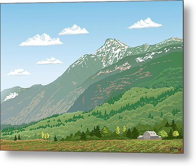 Mt Cheam In Spring Metal Print by Artellus Artworks