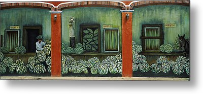 Mural On A Wall, Cancun, Yucatan, Mexico Metal Print by Panoramic Images