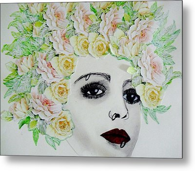 My Flowered Hat Metal Print by Suzanne Thomas