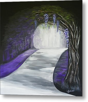 Metal Print featuring the painting Mysterious Wisteria by Agata Lindquist