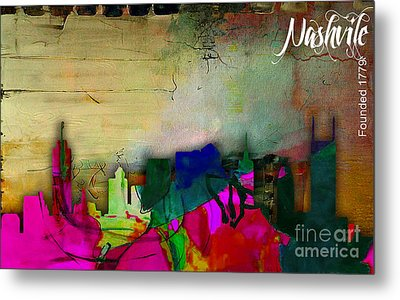 Nashville Skyline Watercolor Metal Print by Marvin Blaine