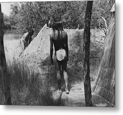 Native American Sweat Lodge Metal Print by Underwood Archives Onia