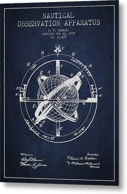 Nautical Observation Apparatus Patent From 1895 - Green Metal Print by Aged Pixel