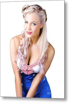Navy Pinup Woman Metal Print by Jorgo Photography - Wall Art Gallery