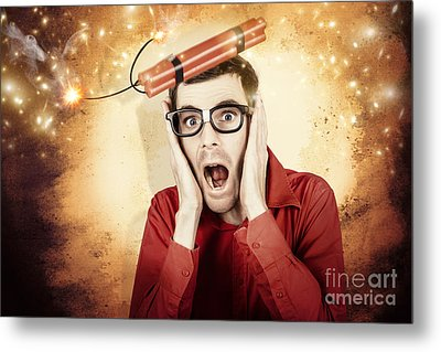 Nerd Business Man Shouting Out In Fear Of A Bomb Metal Print by Jorgo Photography - Wall Art Gallery