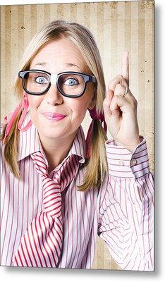 Nerd Female Salesman Pointing To Product Copyspace Metal Print