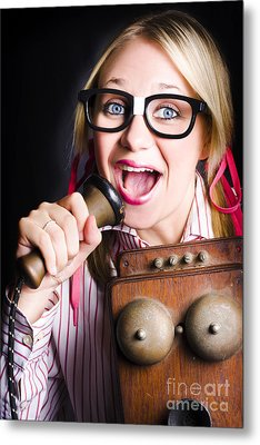 Nerdy Pr Business Person Making Announcement Metal Print by Jorgo Photography - Wall Art Gallery