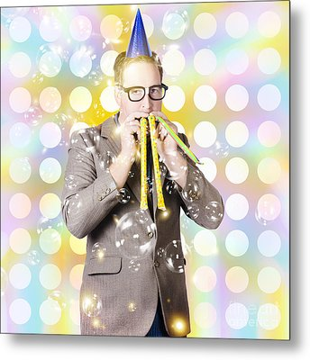 New Years Eve Man Celebrating At A Countdown Party Metal Print by Jorgo Photography - Wall Art Gallery