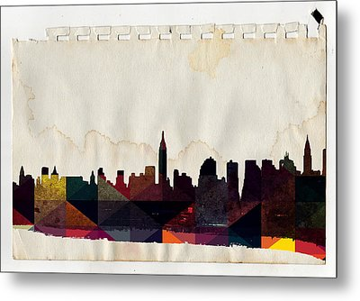 New York City Skyline Metal Print by Celestial Images