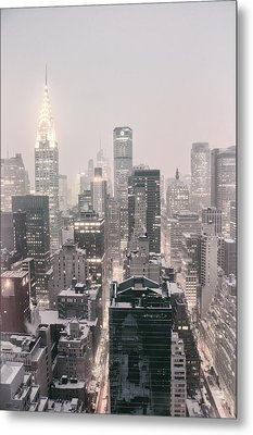 New York City - Snow Covered Skyline Metal Print by Vivienne Gucwa