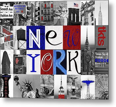 New York Collage II Metal Print by Marilu Windvand
