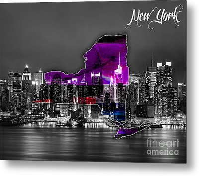 New York Map And Skyline Watercolor Metal Print by Marvin Blaine