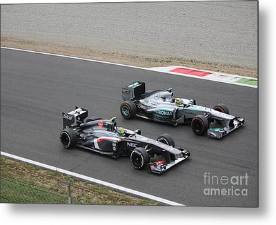 Nico Rosberg And Esteban Gutierrez Metal Print by David Grant