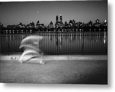 Night Jogger Central Park Metal Print by Dave Beckerman