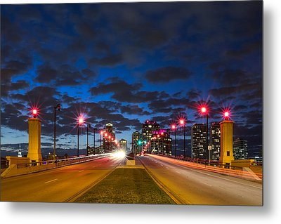 Night Lights Metal Print by Debra and Dave Vanderlaan