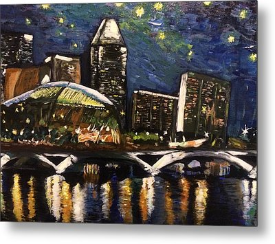 Metal Print featuring the painting Night On The River by Belinda Low