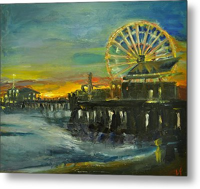 Metal Print featuring the painting Nighttime Pier by  Lindsay Frost