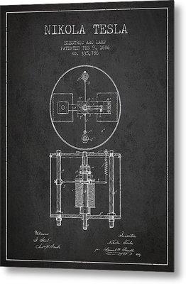 Nikola Tesla Patent Drawing From 1886 - Dark Metal Print by Aged Pixel