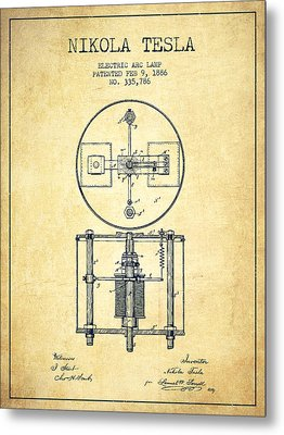 Nikola Tesla Patent Drawing From 1886 - Vintage Metal Print by Aged Pixel