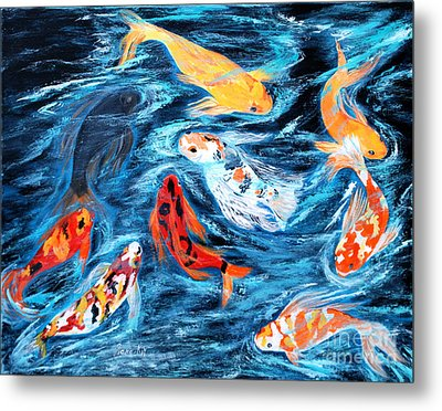 Metal Print featuring the painting Good  Luck Painting. Nine Koi Fish. Inspirations Collection. by Oksana Semenchenko