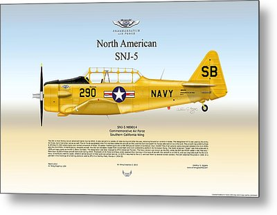 Metal Print featuring the  North American Snj-5 by Arthur Eggers