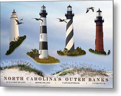 North Carolina's Rt. 12 Lighthouses Metal Print