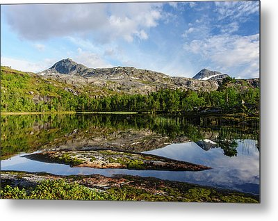 Norway Mountain Scenery Evening Light Metal Print by Fredrik Norrsell