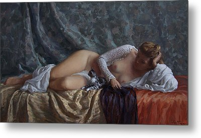 Nude With A Kitten Metal Print by Korobkin Anatoly