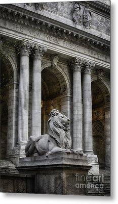 Ny Library Lion Metal Print