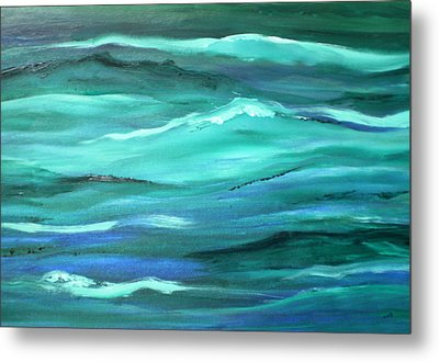 Ocean Swell Abstract Painting By V.kelly Metal Print
