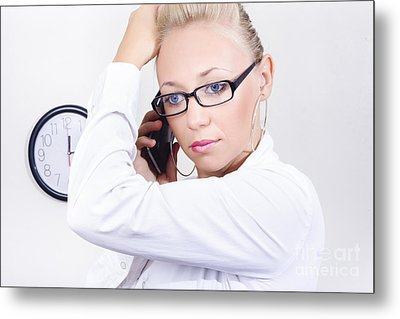 Office Girl Talking On Mobile Smartphone Metal Print by Jorgo Photography - Wall Art Gallery