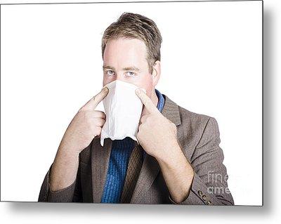 Office Man Avoiding Contagious Flu Like The Plague Metal Print