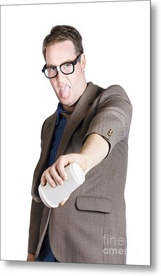 Office Worker Pouring Out Drink. Bad Coffee Metal Print