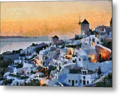 Oia Town During Sunset Metal Print by George Atsametakis