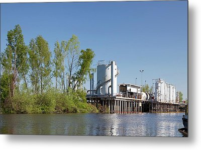 Oil And Gas Industry Metal Print by Jim West