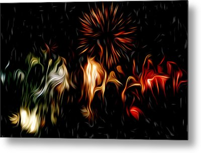 Oil Fireworks Metal Print by Stefan Petrovici