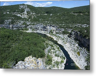 oing down Ardeche River on canoe. Ardeche. France Metal Print