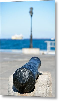 Old Cannon In Aegina Port Metal Print